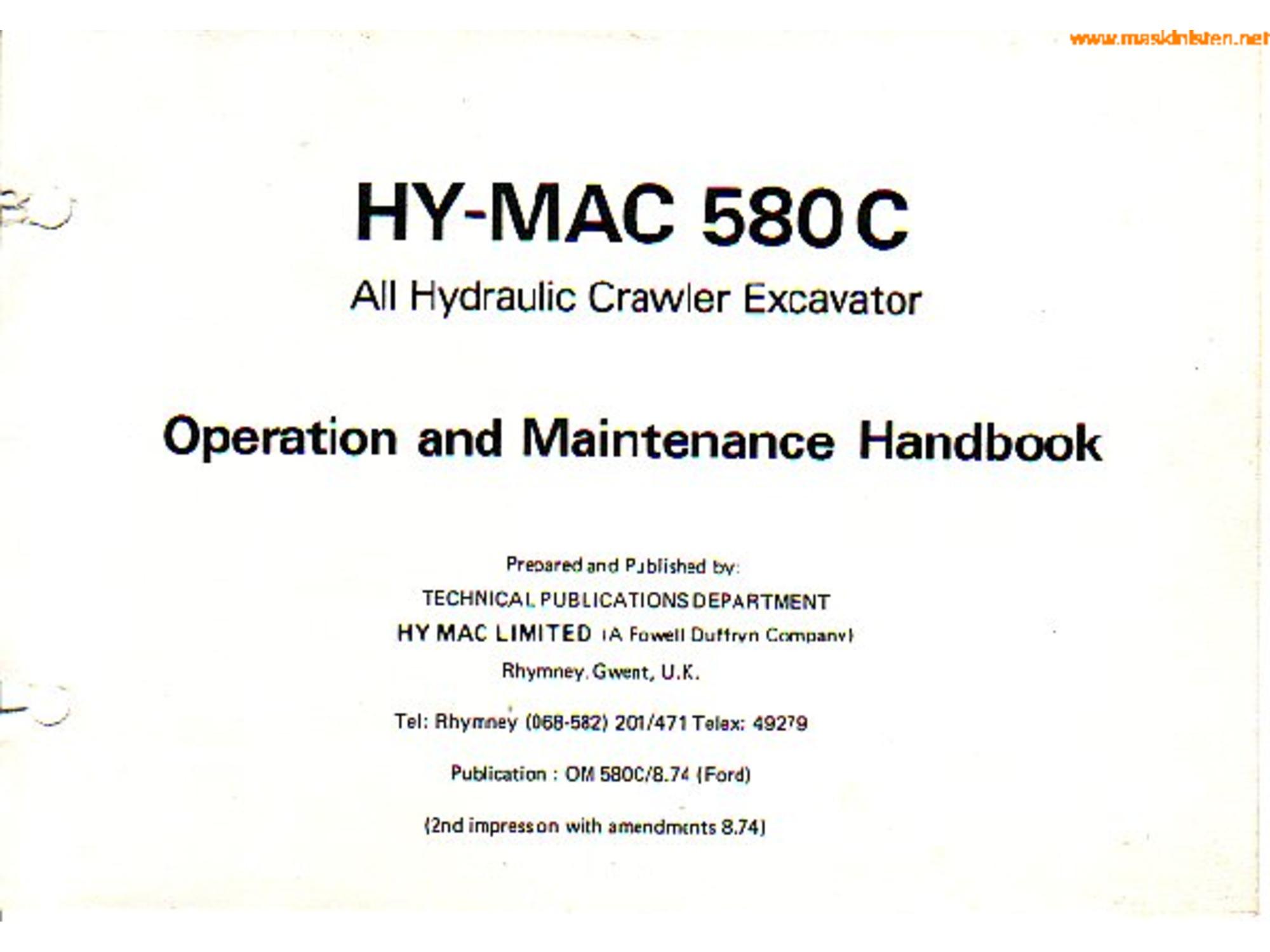 Hymac 580C operation and maintenance handbook