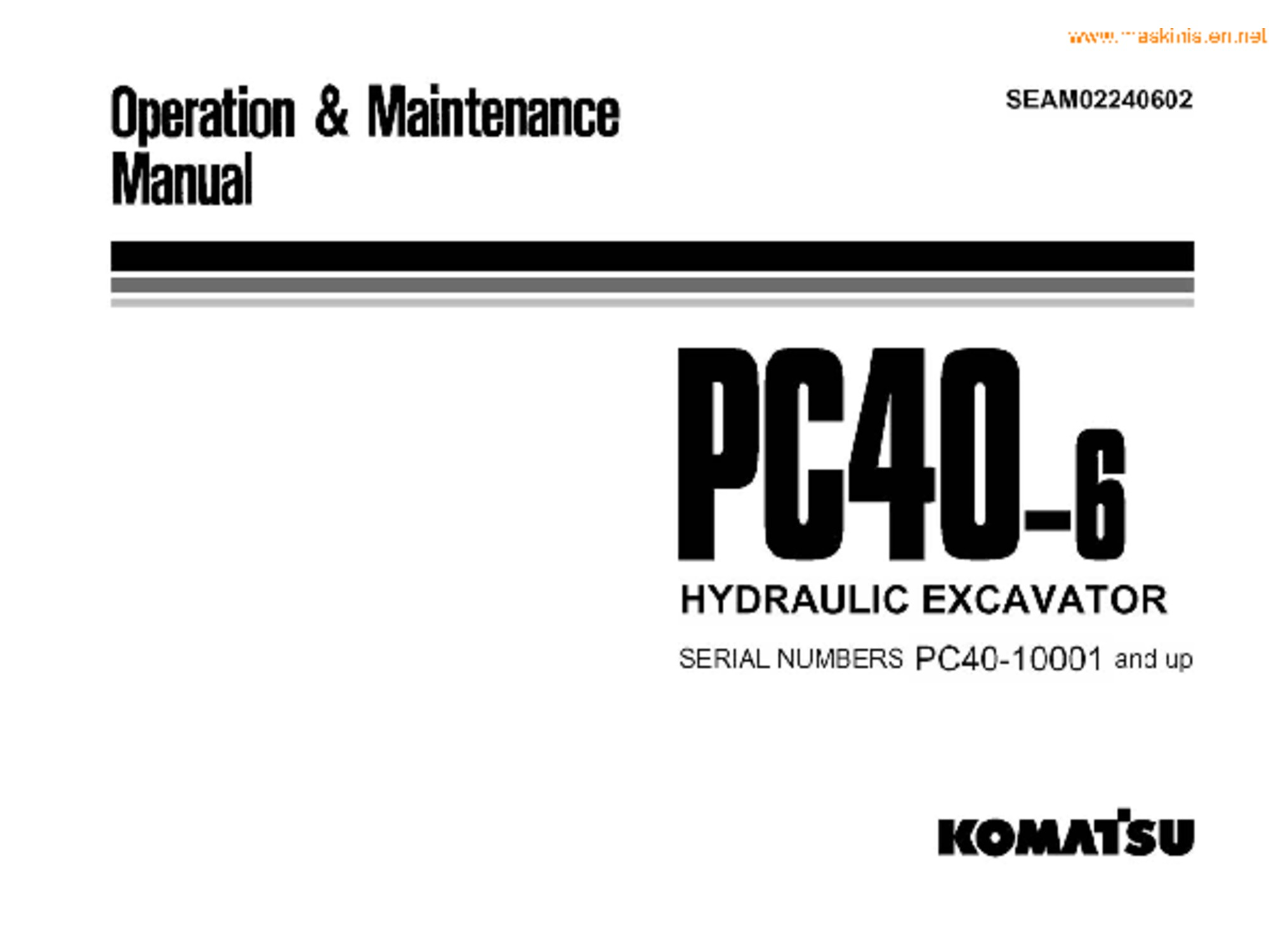 Komatsu PC40-6 operation and maintenance manual