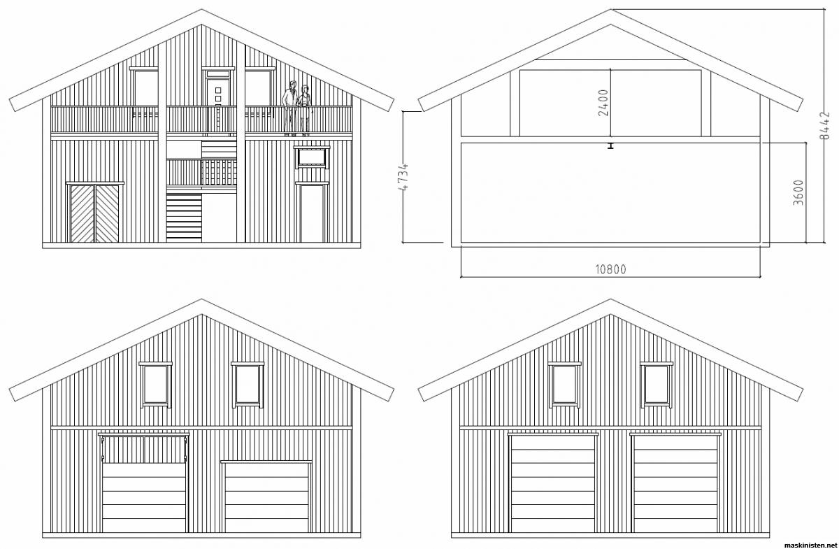 garage med lägenhet ritning