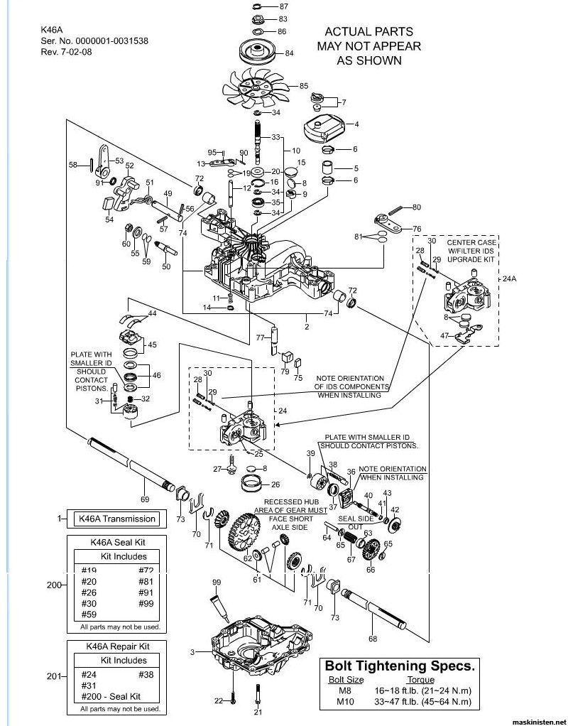 4xr  Unhooked Mower Maietinance Cant Figure Tension together with Deck John Deere L120 Wiring Diagram additionally 00020 further 12314598958235872 also Transmission Service Parts Eaton 778 028 Transaxle 1719490. on hydrostatic transmission breakdown